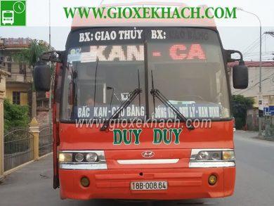 Xe khách tuyến Giao Thủy - Nam Định đi Bắc Kạn - Cao Bằng nhà xe Duy Duy